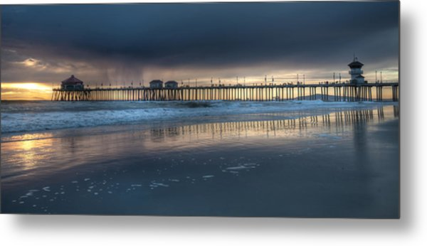 Approaching Storm Huntington Beach Pier Metal Print