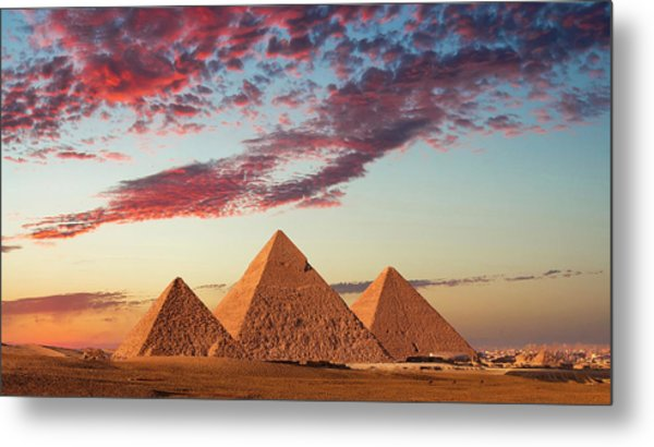 Sunset At The Pyramids, Giza, Cairo Metal Print by Nick Brundle Photography
