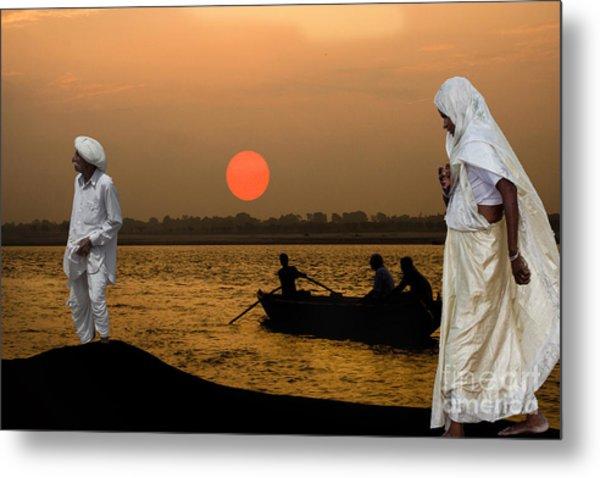 Sunset On Ganges Metal Print