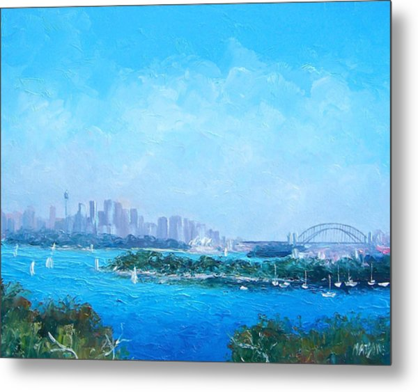 Sydney Harbour And The Opera House Cityscape View Metal Print