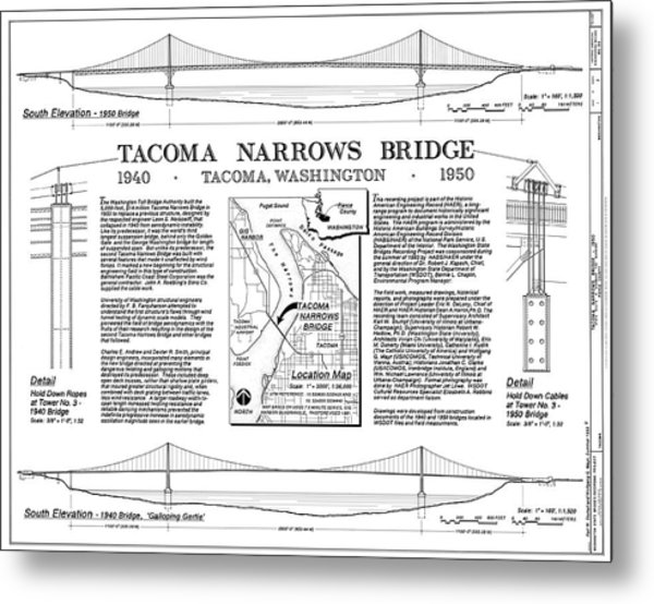 Tacoma Narrows Bridges Compared Metal Print by Library Of Congress/science Photo Library