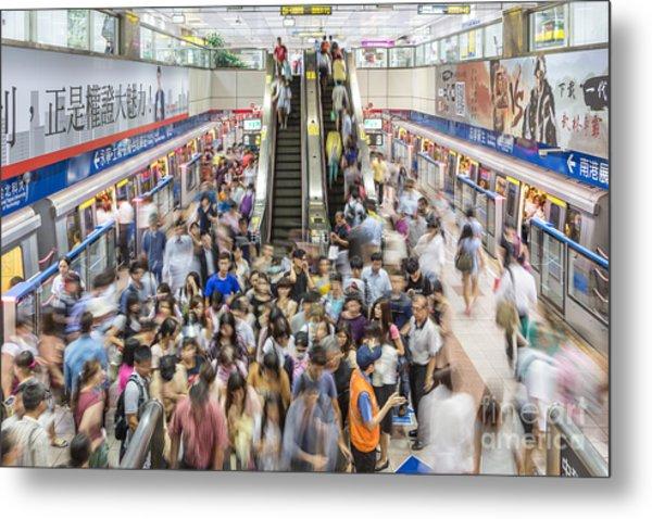 Taipei Metro Rush Metal Print