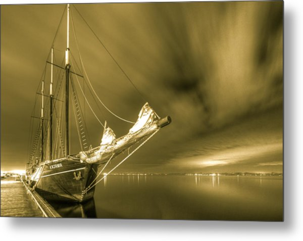 Tall Ship In The Lights Of Toronto Metal Print