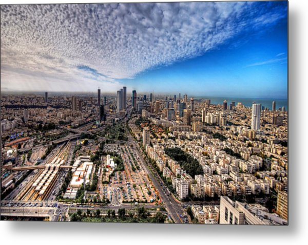 Metal Print featuring the photograph Tel Aviv Skyline by Ron Shoshani