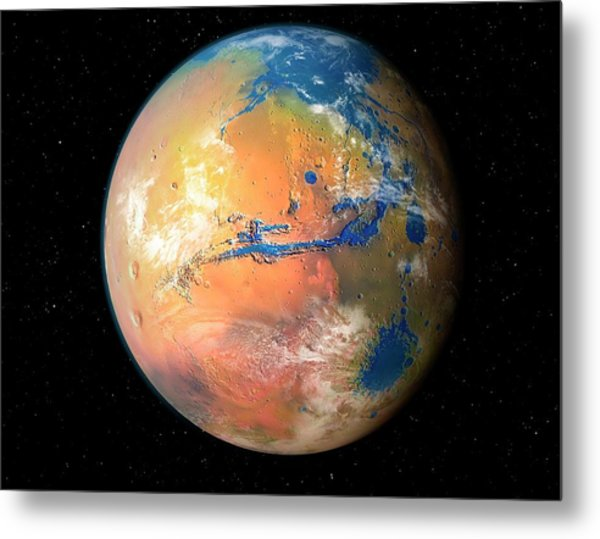 Terraformed Mars Metal Print by Mark Garlick/science Photo Library
