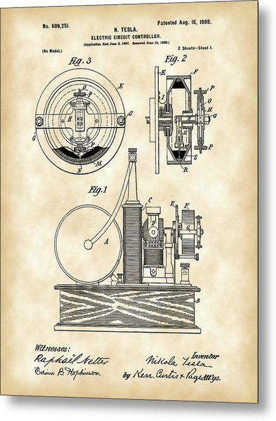 Tesla Electric Circuit Controller Patent 1897 - Vintage Metal Print