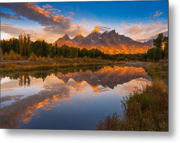 Teton Morning Mirror Metal Print by Joseph Rossbach