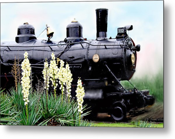 The Black Steam Engine Metal Print