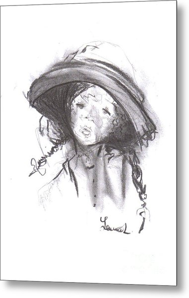 Metal Print featuring the drawing The Bonnet by Laurie Lundquist