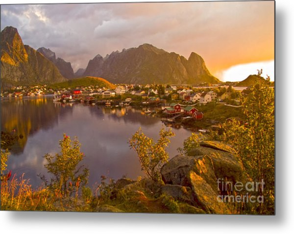 The Day Begins In Reine Metal Print