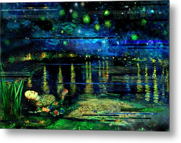 The Death Of Ophelia Rectangles Metal Print