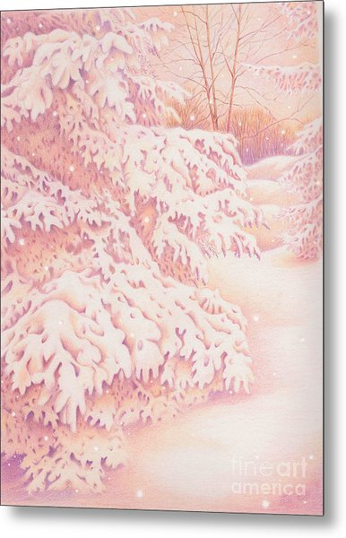 The Gently Falling Snow Metal Print