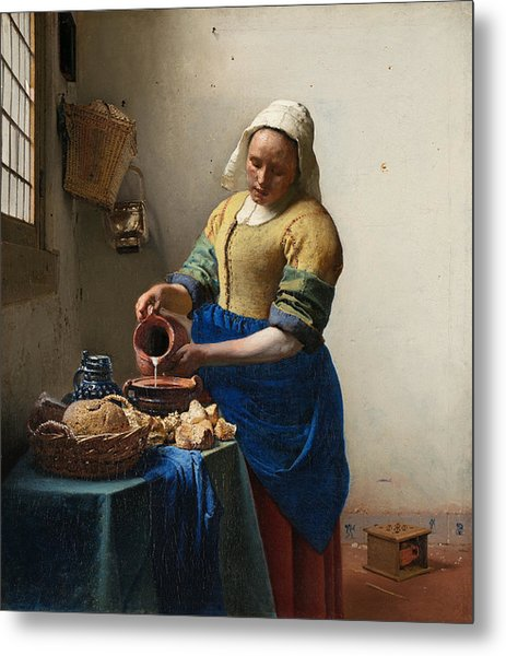 The Milkmaid Metal Print by Johannes Vermeer