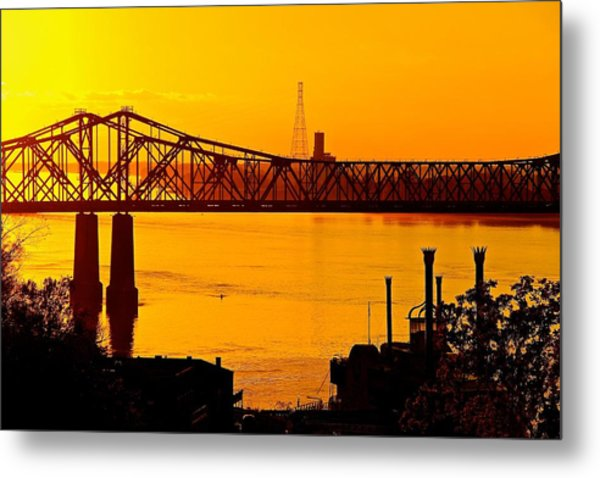 The Mississippi River Bridge At Natchez At Sunset.  Metal Print