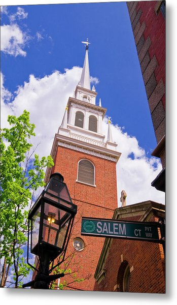 The Old North Church And Gas Street Metal Print
