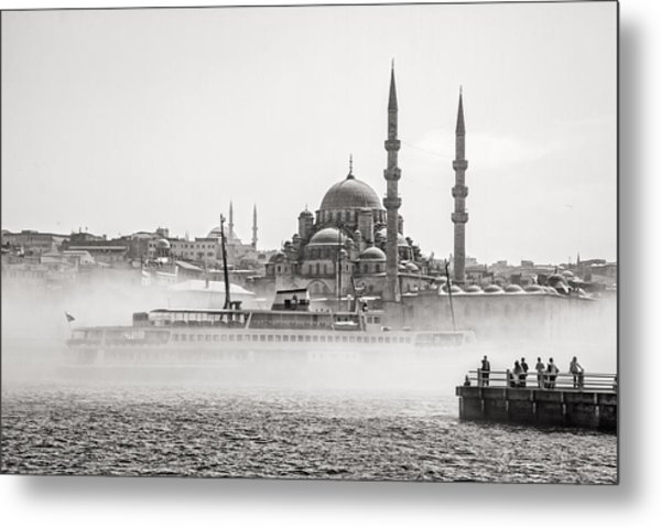 The Yeni Mosque In Fog Metal Print