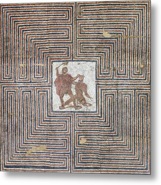 Theseus Mosaic, 4th Century Metal Print