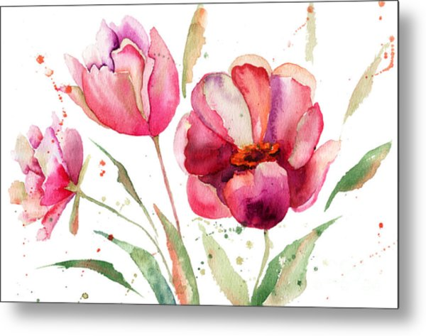 Three Tulips Flowers  Metal Print
