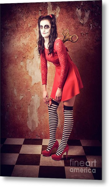 Tired Human Wind-up Doll With Sugar Skull Make Up Metal Print