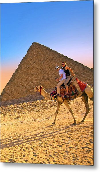 Tourists Ride A Camel In Front Metal Print