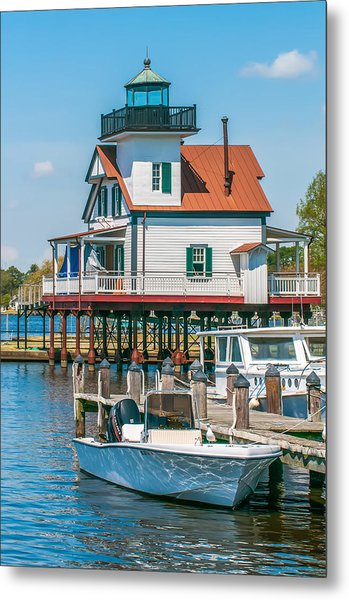 Metal Print featuring the photograph Town Of Edenton Roanoke River Lighthouse In Nc by Alex Grichenko