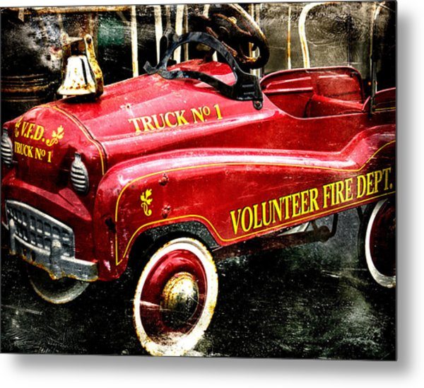 Toy Fire Truck Metal Print by Bobbi Feasel