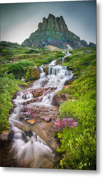 Triple Falls Stream Glacier National Park Metal Print