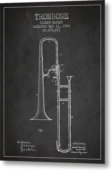 Trombone Patent From 1902 - Dark Metal Print