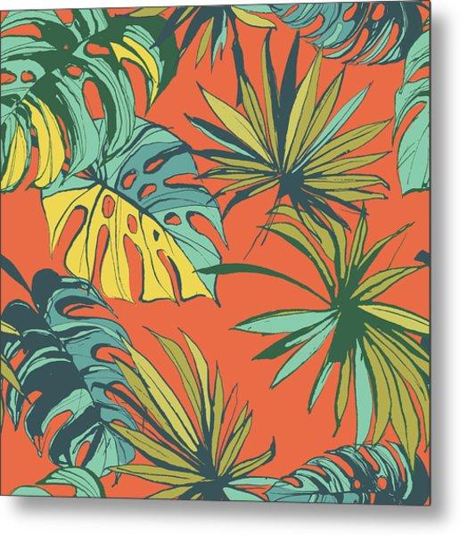 Tropical Jungle Floral Seamless Pattern Metal Print