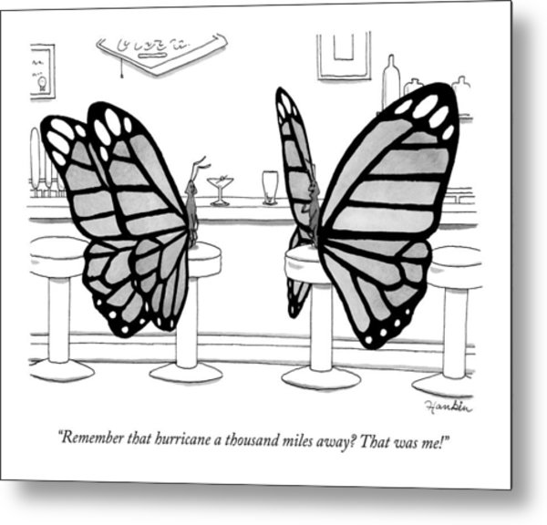 Two Butterflies Talking In A Bar Metal Print