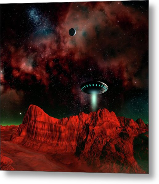 Ufo Over An Alien Planet Metal Print by Mehau Kulyk/science Photo Library