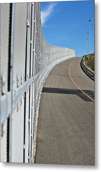 Us-mexico Border Fence Metal Print by Josh Denmark - U.s. Customs And Border Protection/science Photo Library
