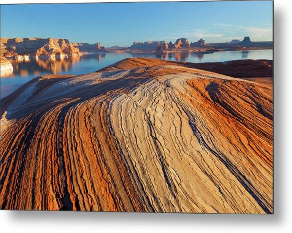 Utah Weathering Pit Ridge At Lake Metal Print by Jaynes Gallery