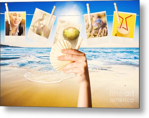 Vacation Woman With Photos From Summer Holiday Metal Print