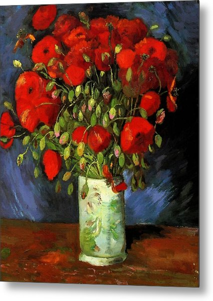 Vase With Red Poppies Metal Print