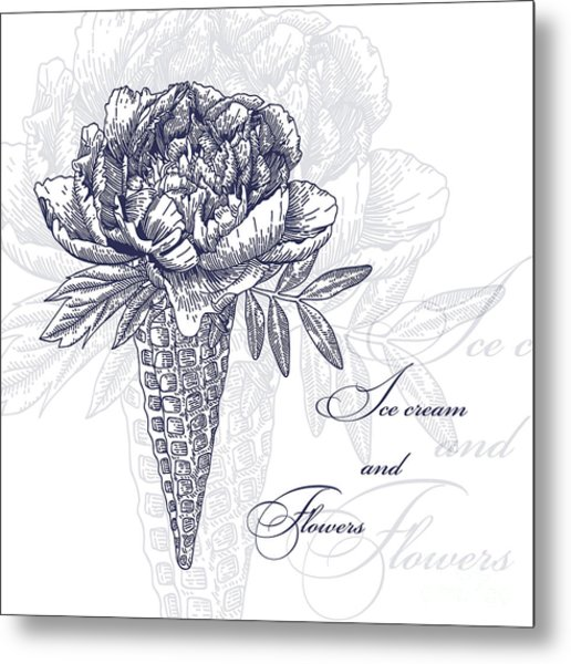 Vector Flowers In Waffle Cone. Bouquet Metal Print