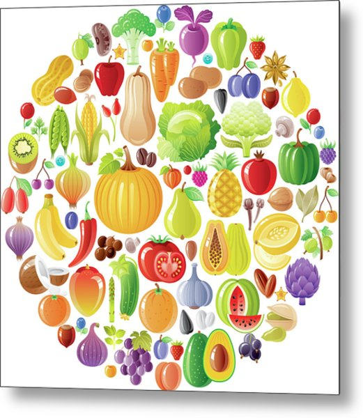 Vegetarian Rainbow Plate Withe Fruits Metal Print by O-che