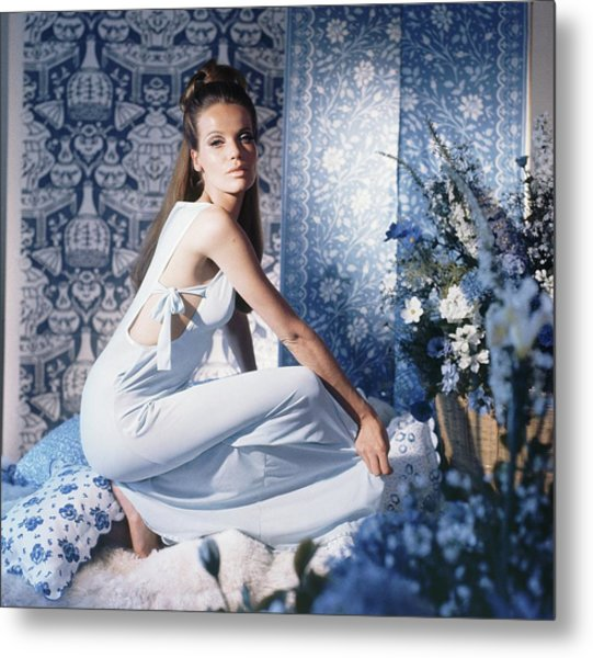 Veruschka Wearing Blue Nightgown Metal Print by Horst P. Horst