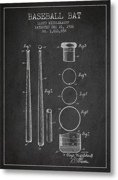 Vintage Baseball Bat Patent From 1926 Metal Print