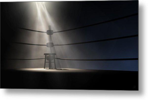 Vintage Boxing Corner And Stool Metal Print