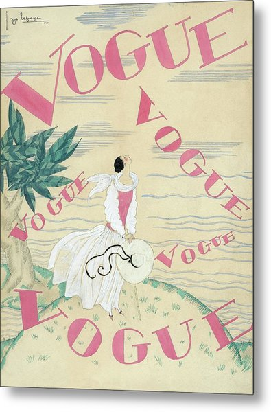 Vogue Magazine Cover Featuring A Woman Standing Metal Print by Georges Lepape