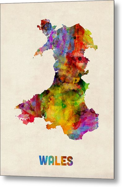 Wales Watercolor Map Metal Print