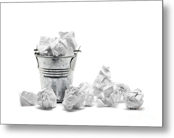 Waste Basket With Crumpled Papers Metal Print by Shawn Hempel