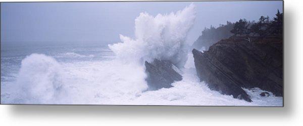 Waves Breaking On The Coast, Shore Metal Print