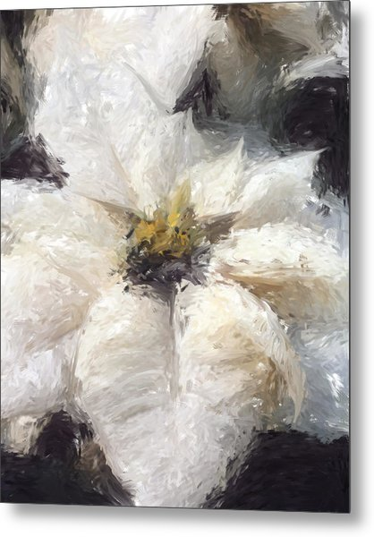 Metal Print featuring the painting White Poinsettias Christmas Card by Jennifer Hotai