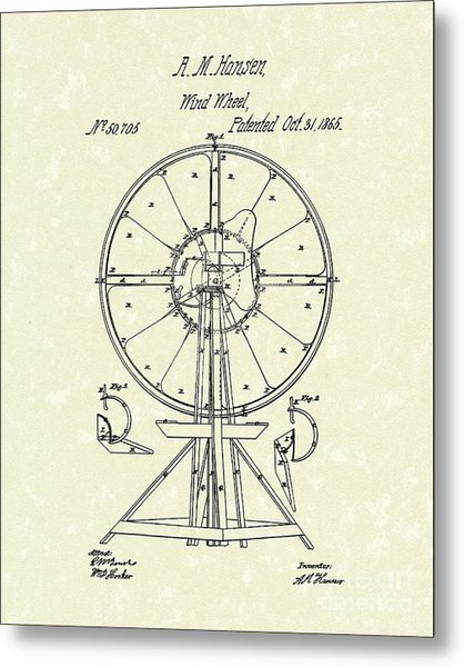 Wind Wheel 1865 Patent Art Metal Print by Prior Art Design