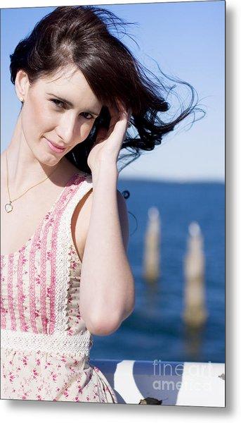 Windy Hair Woman Metal Print