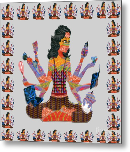 Modern Woman Female Spiritual Inspiration Multitasking Leadership Goddess Background Designs   Metal Print