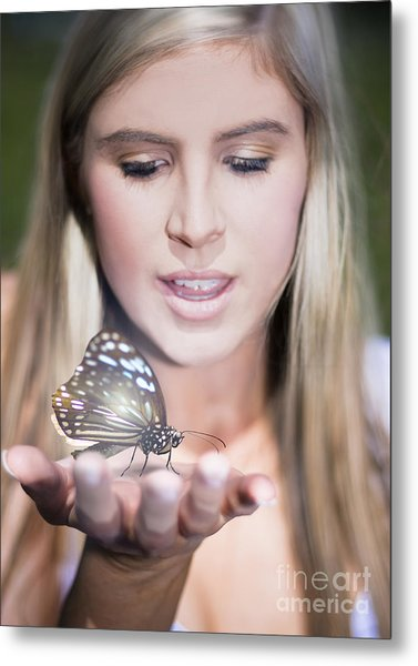 Woman Holding Butterfly Metal Print