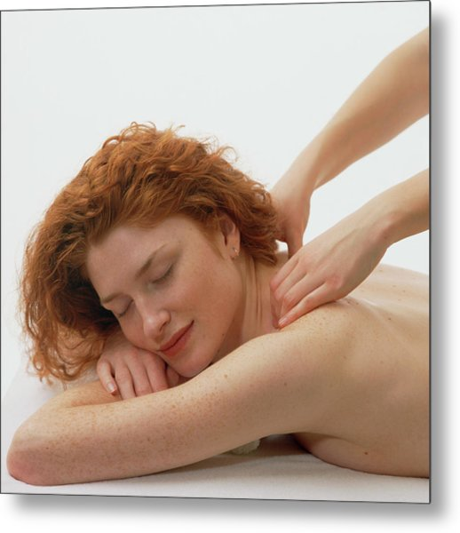 Woman Receives A Neck And Shoulder Massage Metal Print